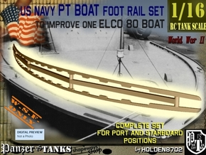 1-16 Elco 80 Foot Rail For PT Boat in White Natural Versatile Plastic