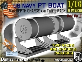 1-16 PT Boat Depth Charge W Rack Set 1 in White Processed Versatile Plastic