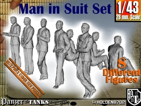 1-43 Man In Suit SET in Smooth Fine Detail Plastic