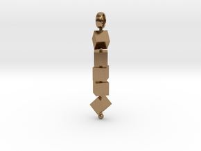 Totem of Cubes (Still) in Natural Brass