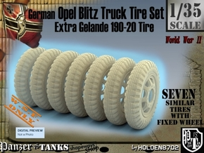 1-35 Opel Blitz Tire 190x20 Set1 in White Processed Versatile Plastic