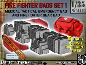 1-35 Med Tac Emerg And Firefight Gear Bag Set in Smooth Fine Detail Plastic