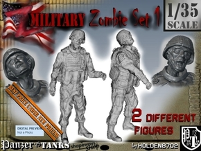 1-35 Military Zombie Set 1 in Smooth Fine Detail Plastic