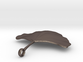 Ginkgo Leaf Necklace in Polished Bronzed Silver Steel