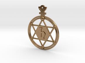 The Saturnus (precious metal earring/pendant) in Natural Brass