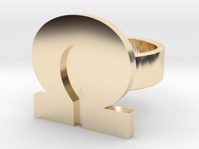 Ohm Ring in 14k Gold Plated Brass: 8 / 56.75
