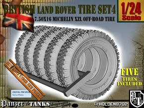1-24 Land Rover 750x16 Tire Set4 in Smooth Fine Detail Plastic
