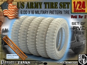 1-24 FIVE UNITS Tire 600x16 in Smooth Fine Detail Plastic