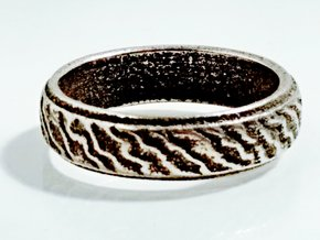 Ripple Ring in Polished Bronzed Silver Steel: 8 / 56.75