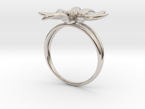 Edelweiss ring  in Rhodium Plated Brass: 5 / 49