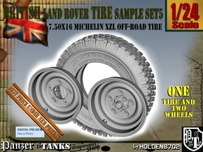 1-24 Land Rover 750x16 Tire And Wheels Sample Set5 in Smooth Fine Detail Plastic