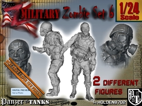 1-24 Military Zombie Set 6 in White Natural Versatile Plastic