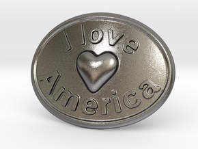 I Love America Belt Buckle in Polished Nickel Steel