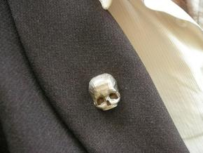 3D Printed Skull Brooch in Stainless Steel