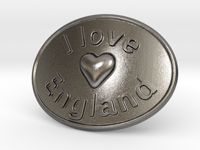 I Love England Belt Buckle in Polished Nickel Steel