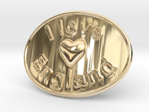 I Love England Belt Buckle in 14K Yellow Gold