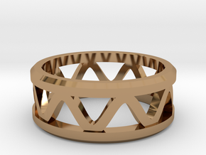 Corrugated Ring  in Polished Brass: 5 / 49