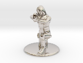 SG Female Soldier Crouched 35 mm new in Rhodium Plated Brass