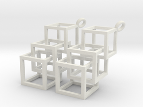 3 Cube in White Natural Versatile Plastic