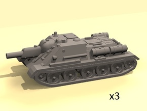 1/144 SU-122 SPG (3) in White Strong & Flexible Polished