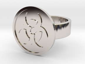 Biohazard Ring in Rhodium Plated: 10 / 61.5