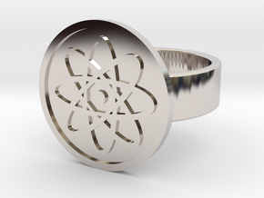 Atom Ring in Rhodium Plated Brass: 10 / 61.5