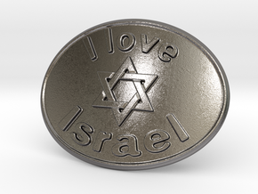 I Love Israel Belt Buckle David Star in Polished Nickel Steel