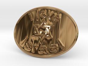 I Love Israel Belt Buckle David Star in Polished Brass
