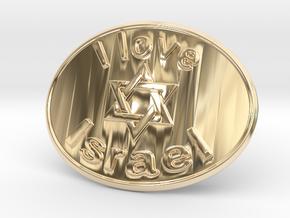 I Love Israel Belt Buckle David Star in 14K Yellow Gold