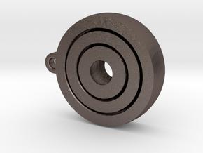 Gyroscopic KeyChain in Polished Bronzed Silver Steel