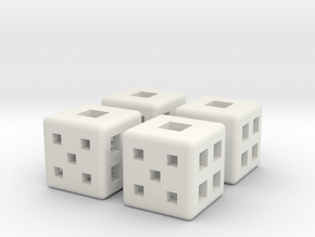 d6 Square Dice 12mm x4 in White Natural Versatile Plastic