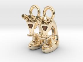 Microscope Earrings  in 14K Yellow Gold