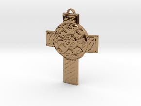 Celtic Cross Shield in Polished Brass: Medium