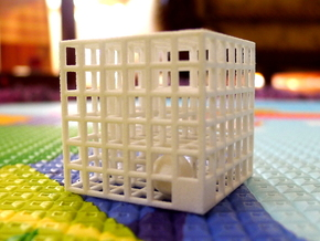 Maze 02, 3x3x3, 'Fidget'  in White Natural Versatile Plastic: Medium