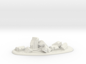 28mm Scale Column Ruins - Curved in White Natural Versatile Plastic