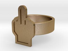 Middle Finger Ring in Polished Gold Steel: 10 / 61.5