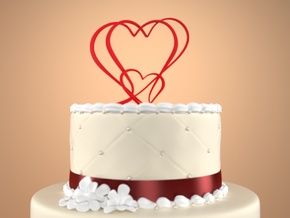 Three Hearts Merged Cake Topper  in Red Strong & Flexible Polished