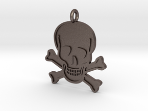 Skull & Crossbones Pendant in Polished Bronzed Silver Steel