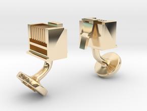 RJ45 Ethernet Cufflinks in 14k Gold Plated Brass