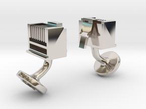 RJ45 Ethernet Cufflinks in Rhodium Plated Brass