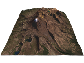 "Mount Ngauruhoe (Mt Doom) Map - 9"" in Matte Full Color Sandstone"