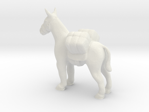 HO Scale Pack Mule in White Natural Versatile Plastic