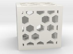 Honeycomb D6 in White Natural Versatile Plastic