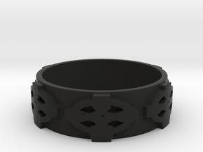Celtic Cross Ring Size 11 in Black Natural Versatile Plastic