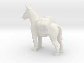O Scale Pack Mule in White Natural Versatile Plastic