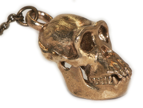 Chimpanzee Pendant - 30mm in Natural Brass