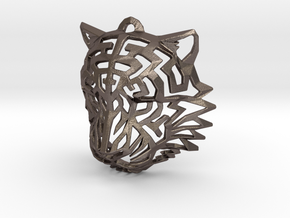 Tiger Head Pendant in Polished Bronzed Silver Steel