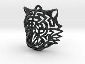 Tiger Head Pendant in Black Hi-Def Acrylate