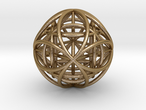 """OctaHexasphere w/ nested Platonic Solids 1.7"""" (nb) in Polished Gold Steel"""