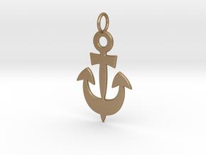 Anchor Symbol Pendant Charm in Matte Gold Steel